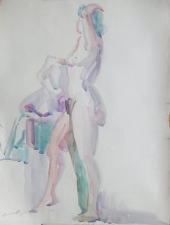 """""""Bather II"""" Watercolor Painting 24"""" x 17"""" inch by Kawkab Youssef"""