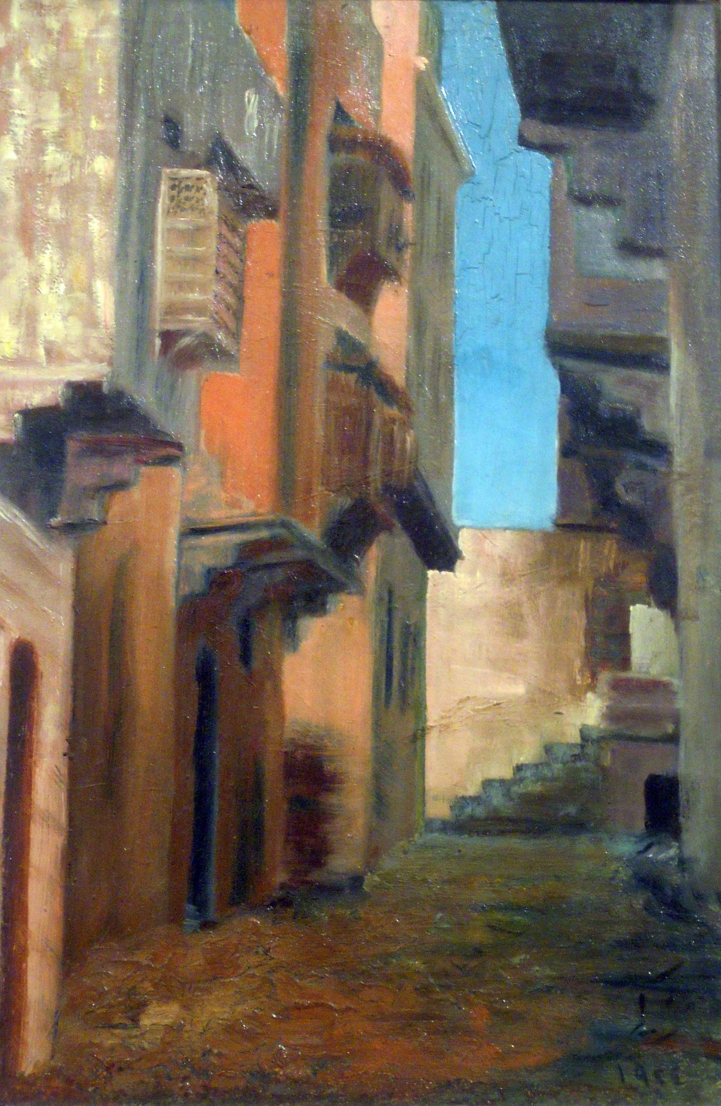 """""""Old Cairo"""" Oil Painting 19"""" x 12"""" inch by Shaaban Zaki"""