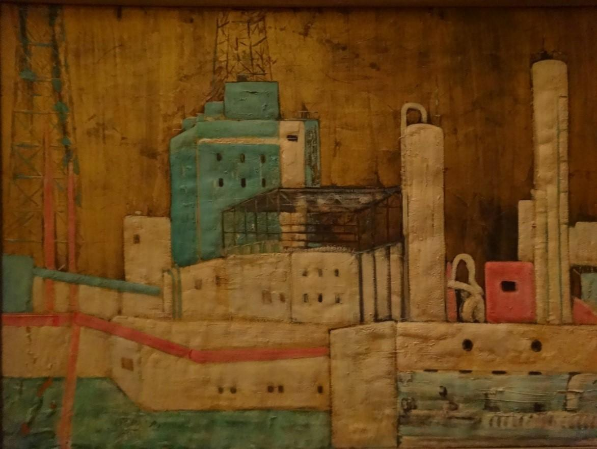 """""""Steel Factory"""" Oil Painting 39"""" x 28"""" inch by Zohra Efflatoun"""