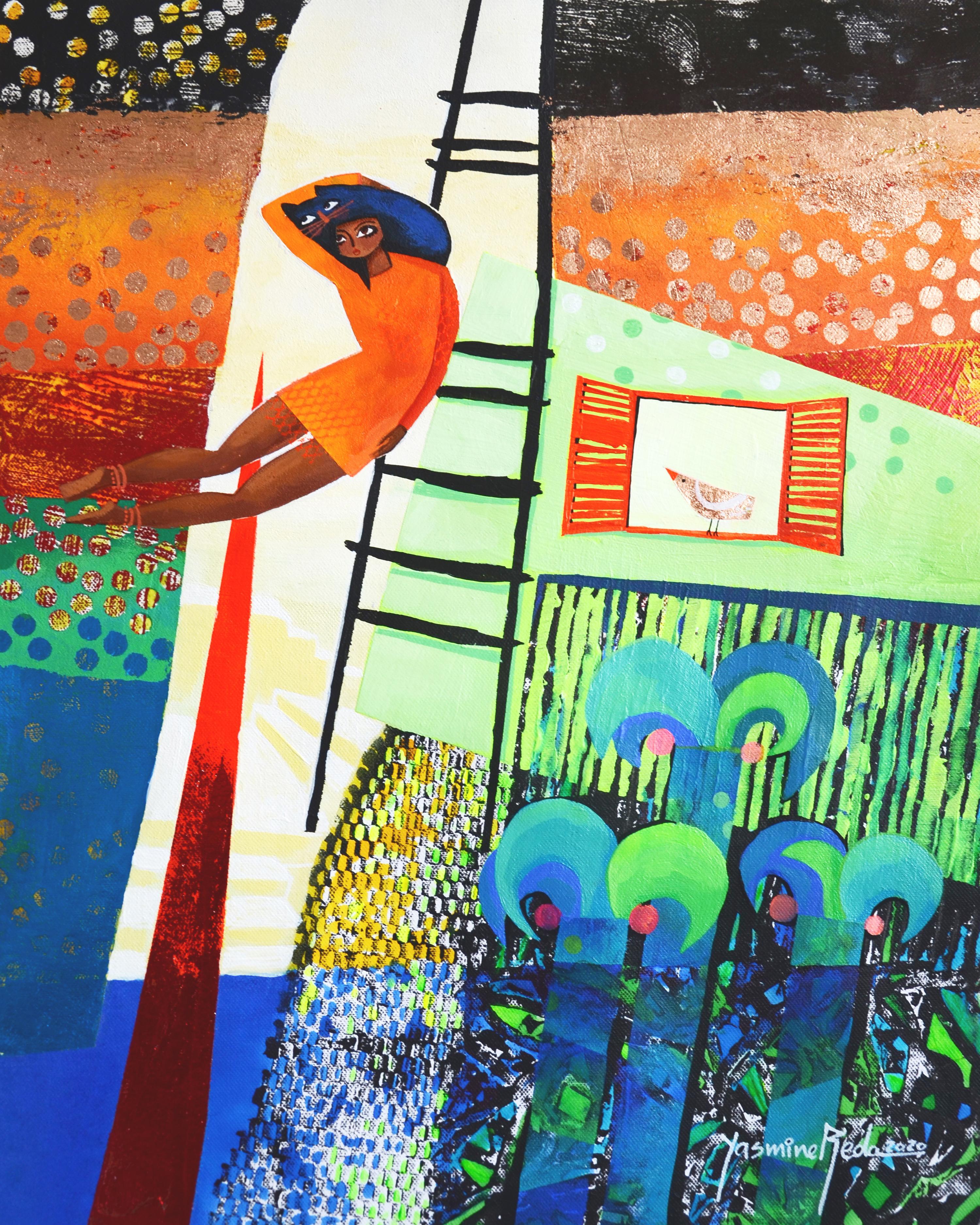 """Balance"" Mixed media Painting 22"" x 17"" inch by Yasmine Reda"