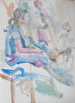 """""""Gathering"""" Watercolor Painting 24"""" x 17"""" inch by Kawkab Youssef"""