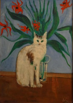 """""""Cat"""" Oil Painting 28"""" x 20"""" inch by Zohra Efflatoun"""