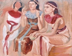 """Pharaoh Group"" Oil Painting 13"" x 17"" inch by Shaaban Zaki"