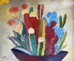 """Cactus 3"" Oil Painting 47"" x 55"" inch by Mohamed Abla"