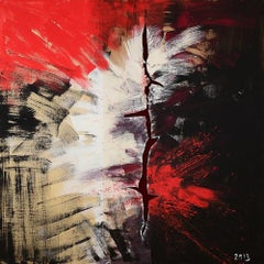 """""""Abstract Composition IV"""" Acrylic on Wood Painting 79"""" x 79"""" inch by Leila Izzet"""
