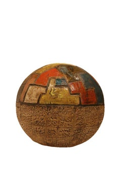 Large Ceramic Modern Orb with Puzzle Design - Hand Made with Beautiful Ash Glaze