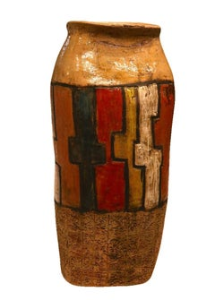 Abstract Primitive Pottery -  Large Ceramic Pot Sculpture - Red Clay Ash Glazes