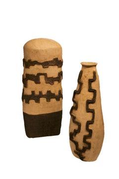 Large Ceramic Pottery - A Pair of Abstract Primitive Sculpture Art - Ash Glaze