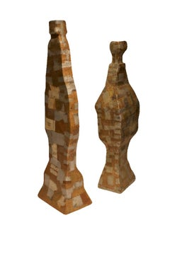 PAIR Large Abstract Sculpture Art - Hand Hammered Copper/Zinc over Cedar Forms