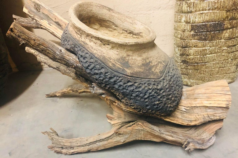 Check out this unique, Cone 5 Fired Ceramic Pottery Planter on Organic Tree Root made by artist Mark Wade.   This indoor or outdoor vessel large enough to test out your gardening skills with your favorite plant or perfect for those going for the