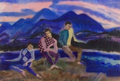 American modernist painting of three young men at leisure by Jason Schoener
