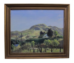 Landscape oil painting on canvas with warm sunlit hills by artist Lee LeBlanc