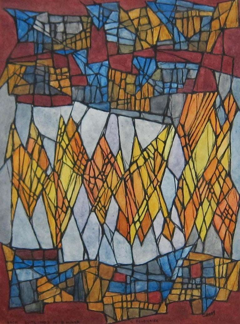 Hildegarde Haas Abstract Drawing - Abstract painting - 'Bach - Suite No.2 in B Minor - 5 Polonaise'