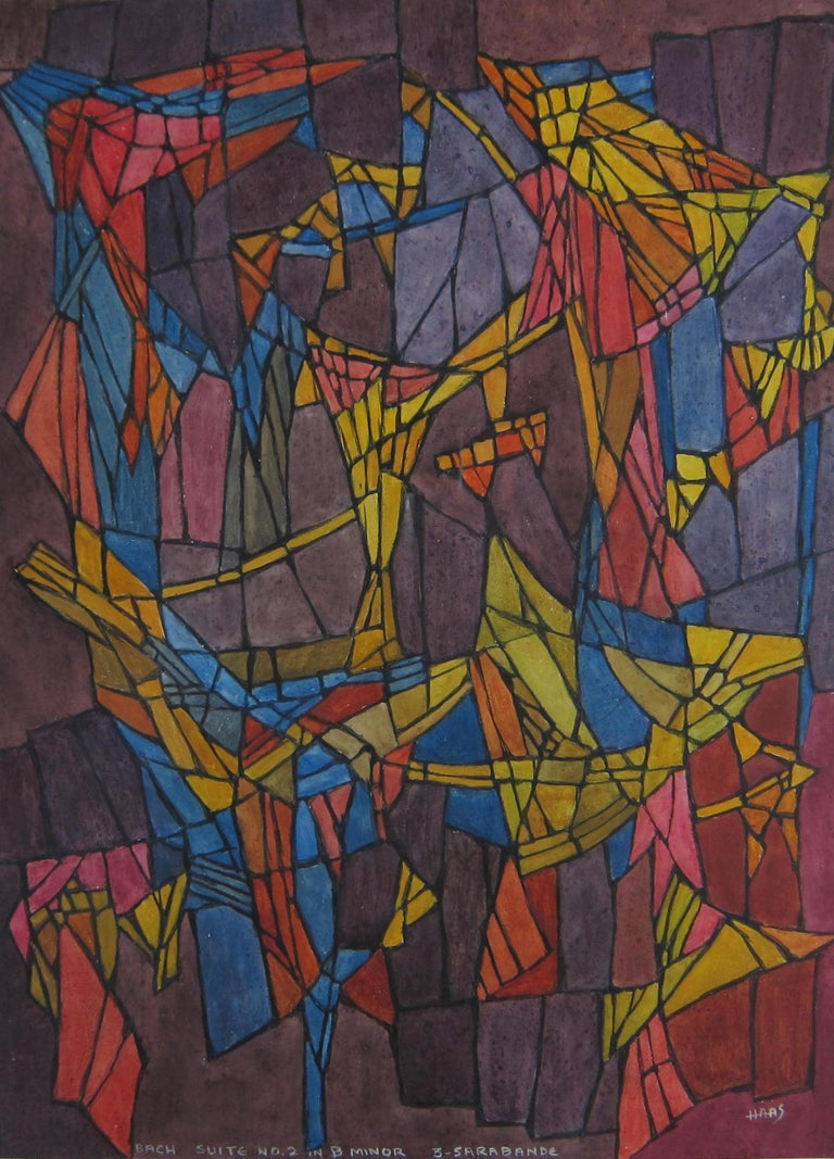 Hildegarde Haas Abstract Drawing - Abstract painting - 'Bach - Suite No.2 in B Minor - 3 Sarabande'