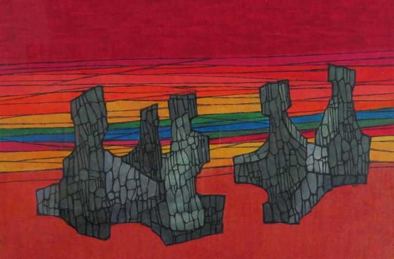 Colorful abstract painting by San Francisco Bay Area artist Hildegarde Haas depicting rock formations floating in a red and rainbow colored background. This work was not titled by the artist so interpretation is up to the viewer.  Haas loved to