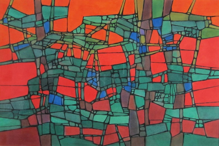 Bright and boldly colored abstract painting by San Francisco Bay Area artist Hildegarde Haas.  This work was not titled by the artist so interpretation is up to the viewer.  Haas loved to study and paint scenes from nature, but is also known for her