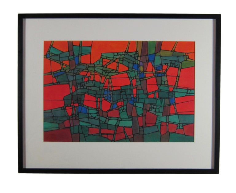 Boldly Colored Mid Century Abstract Painting by Hildegarde Haas For Sale 1