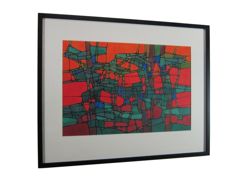 Boldly Colored Mid Century Abstract Painting by Hildegarde Haas For Sale 2