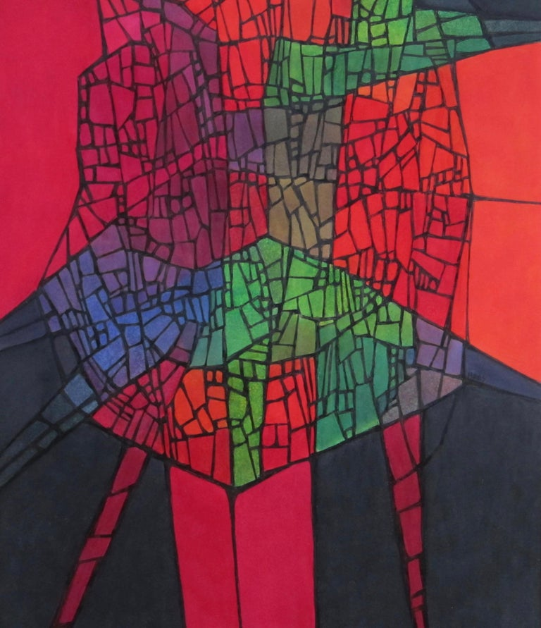 Colorful Abstract Painting by California Artist Hildegarde Haas - Black Abstract Drawing by Hildegarde Haas