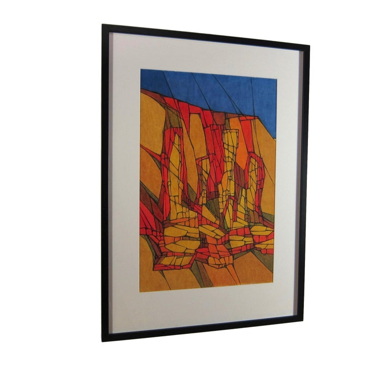 Colorful Mid-Century Abstract Painting by Hildegarde Haas of Rock Formations  For Sale 2