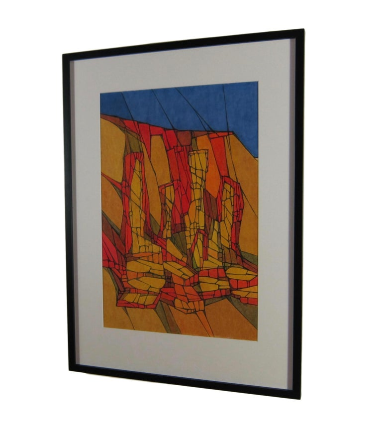 Colorful Mid-Century Abstract Painting by Hildegarde Haas of Rock Formations  For Sale 3