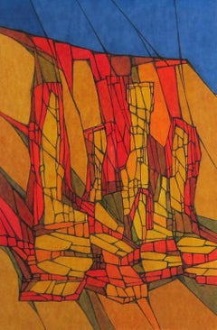 Colorful Mid-Century Abstract Painting by Hildegarde Haas of Rock Formations