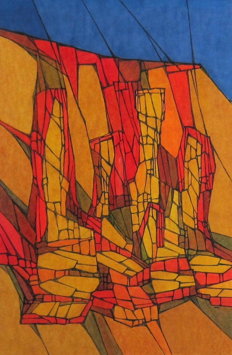Colorful abstract landscape painting by San Francisco Bay Area artist Hildegarde Haas.  This work is from Haas' nature series, a typical theme in the artist's life as Haas loved to study and paint geology and nature.  This work appears to depict and