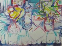 Cubist inspired still life painting by Spanish artist Ramon Moscardo Fernandez