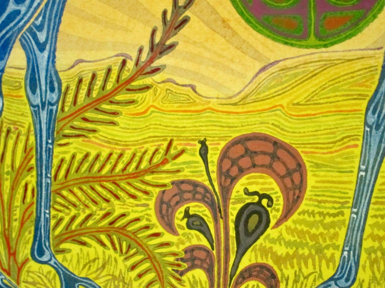 African Fantasy World Watercolor by Artist Jesse Allen For Sale 3