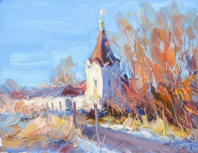Yuriy Demiyanov Landscape Painting - Esquisse avec une Tour (Sketch With A Tower)