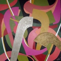 Austrian Contemporary Art by B. Thonhauser-Merk - Abstraction En Rose Et Vert