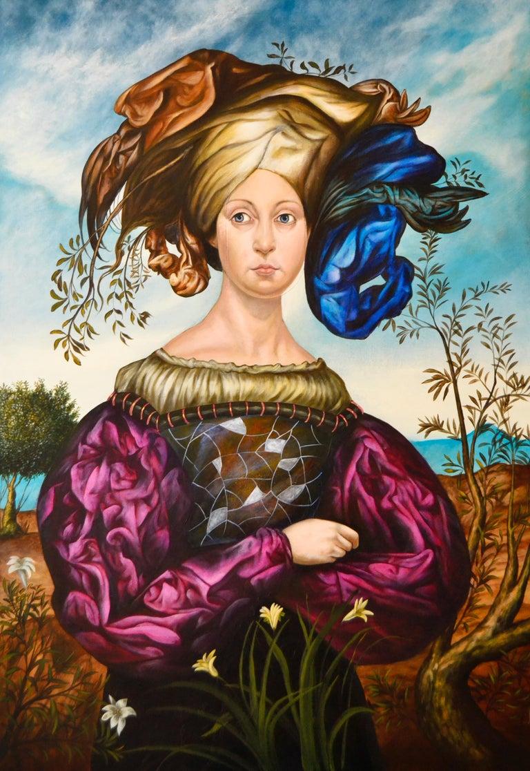 Carlos Antonio Sablon Perez Figurative Painting - Cuban Contemporary Art by Carlos Sablon Perez - La Femme au Chapeau