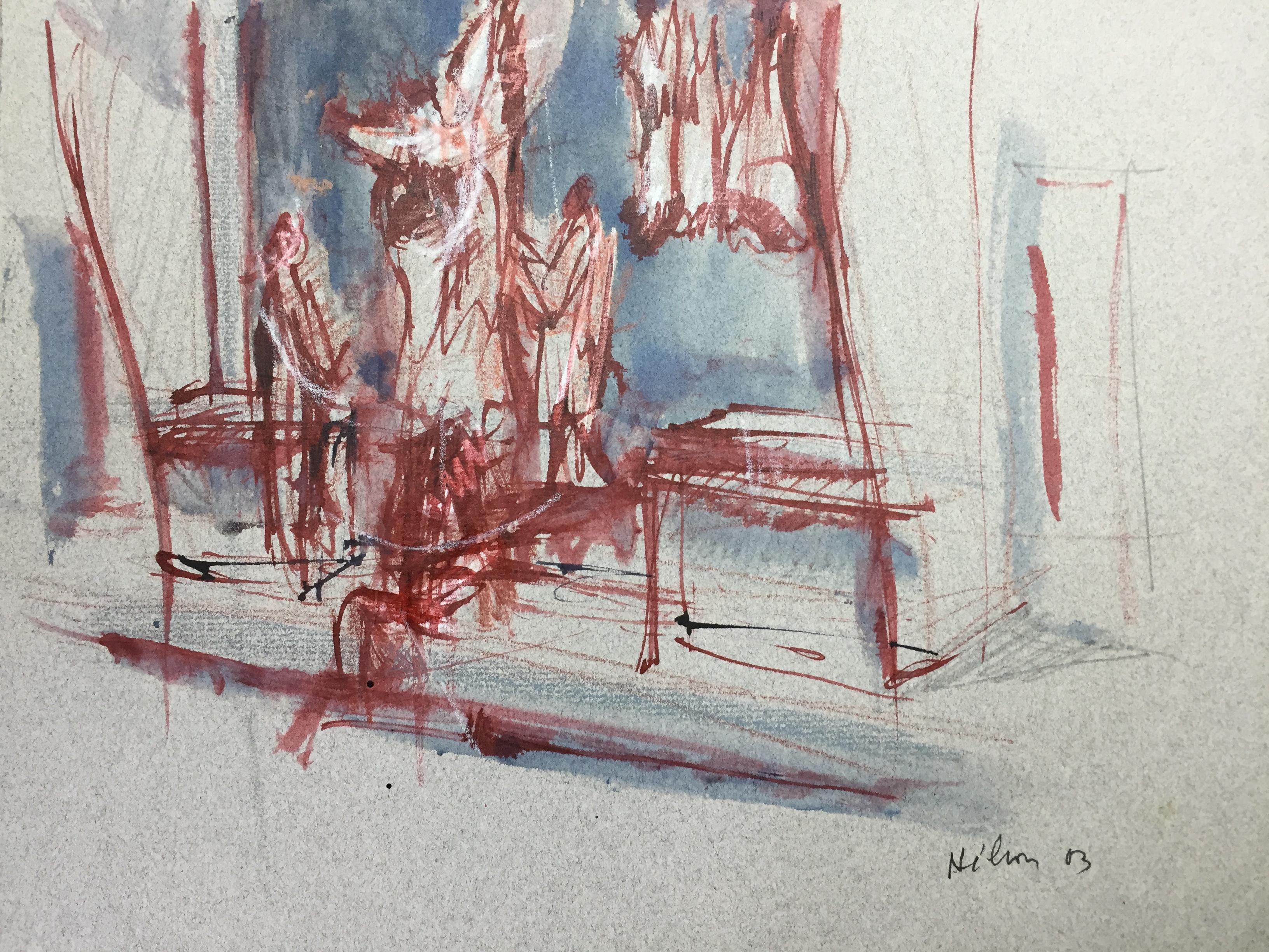 French Modern Drawing by Jean Hélion - Les Bouchers