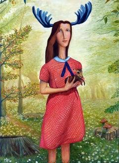 Turkmen Contemporary Art by Amir Kerr - Girl With A Musk-Deer