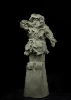 Russian Contemporary Sculpture by Alexander Sviyazov - A boy with a sled.Winter.