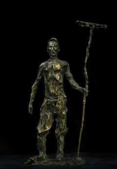 Russian Contemporary Sculpture by A. Sviyazov - The man with the rake. Hayfield