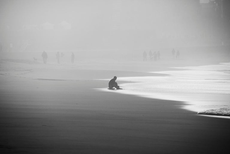 Frédéric Ducos Black and White Photograph - Body boarder at sunset