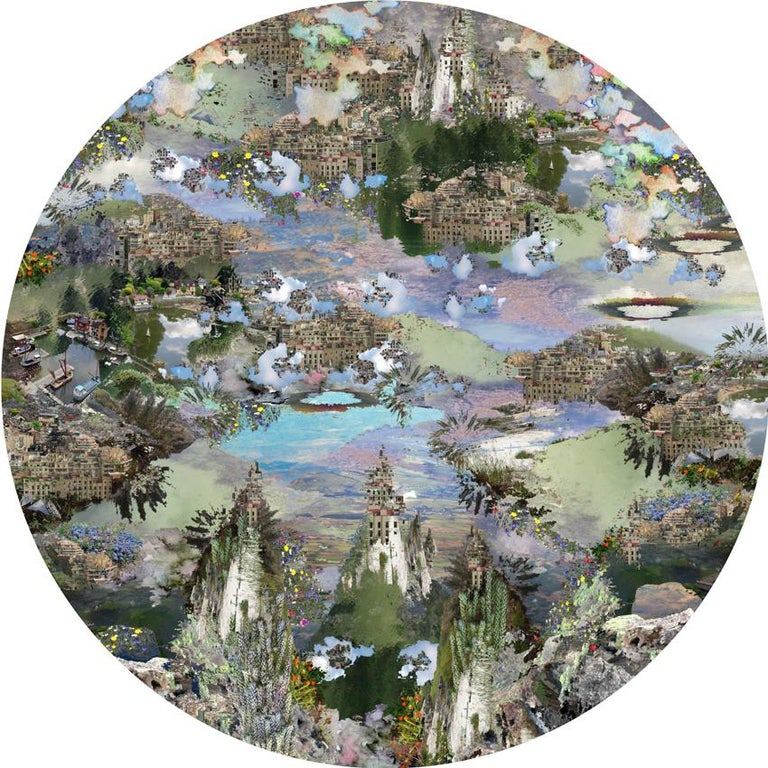 Digital print on canvas, edition 1/10, 60 cm diameter, 2019  Jane Ward is a British artist born in 1960 who lives & works in Lake District National Park around Keswick and Grasmere, UK. A trip to Italy opened for the artist a new chapter in her life