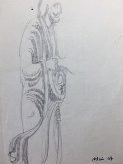 French Modern Drawing by Jean Hélion - Veil Homme