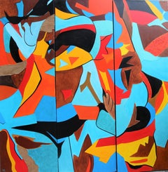 French Contemporary Art by Brigitte Mathé - Life's Colors Tryptique