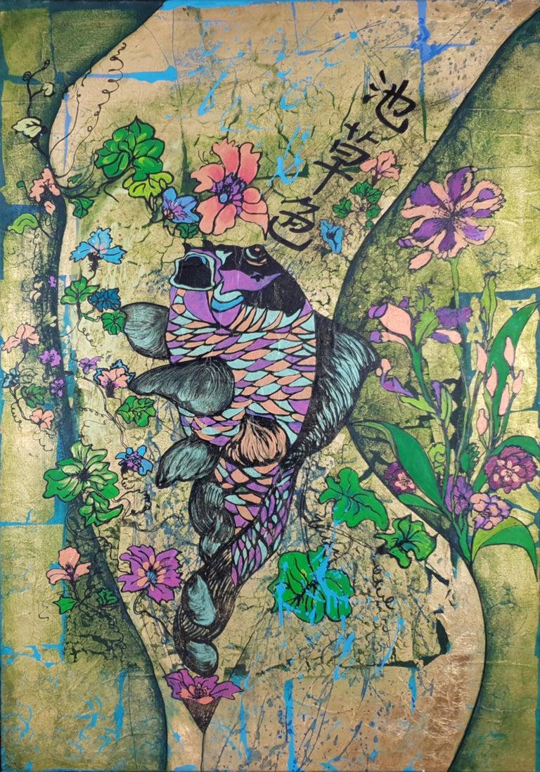 Corine Lescop Abstract Painting - Folie printanière