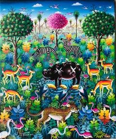 African Contemporary Art by Djiguemdé Roger - Hippopotame au Marigot