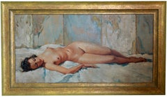 Cesar Vilol, French Art Deco Oil on Canvas, Young Nude Lady Lying, 1930