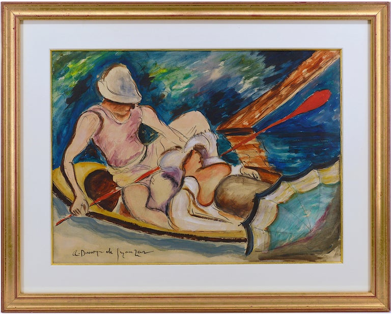 """Pen, ink, watercolor and wash on paper by André Dunoyer de Segonzac, France, 1922-1924. Boating on the Morin River. Measurements : with frame: 52.5x65x2 cm - 20.7x25.6x0.8 inches / without frame: 36.5x45 cm -  14.4x17.7 inches. Signed lower left """"A."""