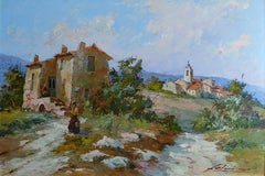 Landscape and Village in Provence - Oil on Hardboard