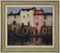 Alfred SALVIGNOL, Boats in Martigues, Provence, Oil on panel, 1920s