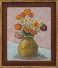 Pierre GIRIEUD, Vase of Flowers, Marigolds, Oil on Cardboard, 1941