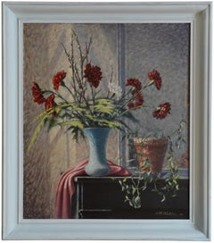 Carnation Vase, Oil on Canvas