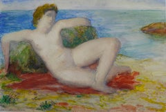 Young Woman Lying By The Sea, Watercolor