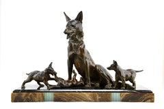 Large Art Deco Shepherd Dog with Playful Puppies Sculpture